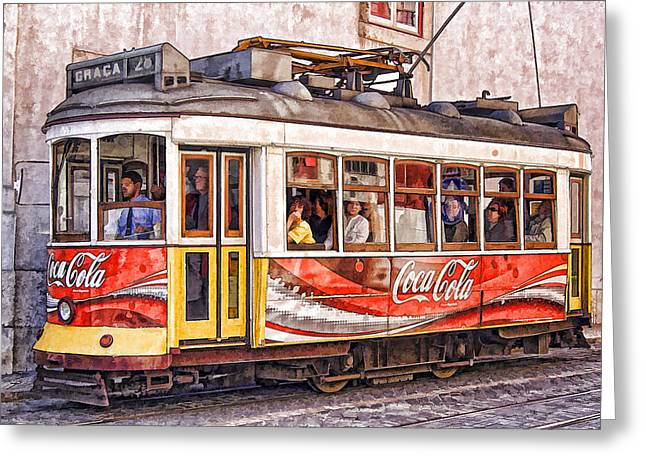 Graca Greeting Cards - Electric Trolly of Lisbon Greeting Card by David Letts