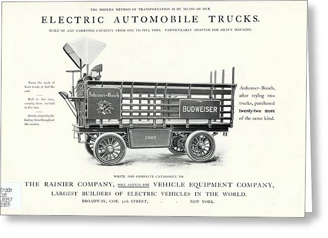 Anheuser-busch Greeting Cards - Electric Truck Advert, 1900s Greeting Card by Hagley Archive