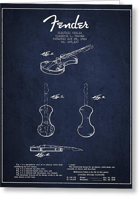 Violin Greeting Cards - Electric Violin Patent Drawing From 1960 Greeting Card by Aged Pixel