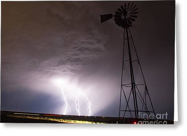 Summer Storm Greeting Cards - Electric Windmill Greeting Card by Shawn Naranjo