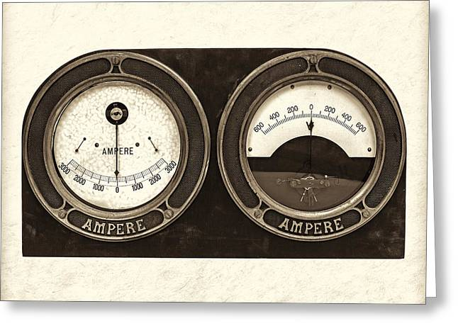 Electrical Meter Greeting Cards - Electrical - Sepia Greeting Card by Martin Bergsma