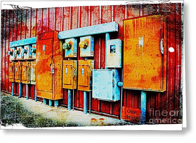 Current Control Greeting Cards - Electrical Boxes II Greeting Card by Debbie Portwood