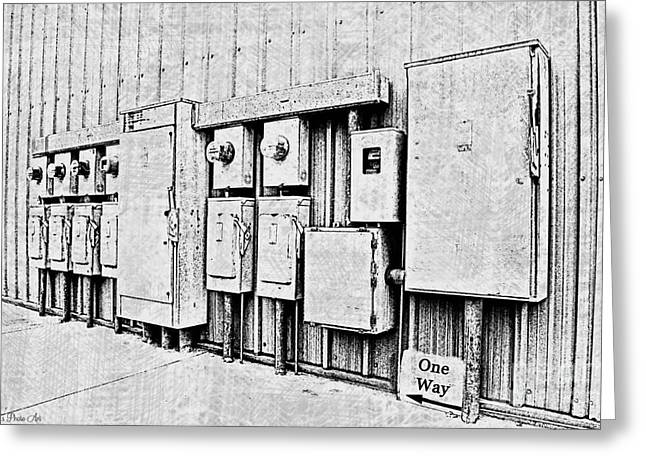 Current Control Greeting Cards - Electrical Boxes V Greeting Card by Debbie Portwood