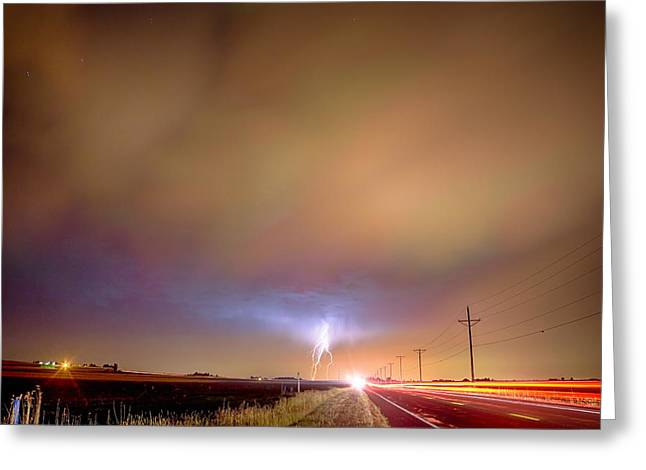 Storm Prints Photographs Greeting Cards - Electrical Charged Green Lightning Thunderstorm Greeting Card by James BO  Insogna