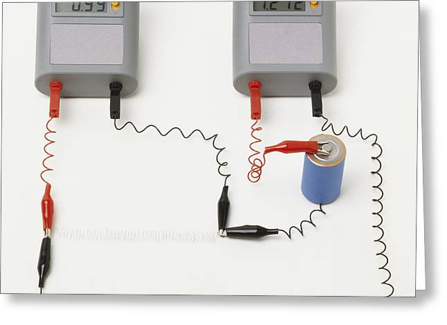 Electrical Resistance Greeting Cards - Electrical Circuit, Ohms Law Greeting Card by Andy Crawford / Dorling Kindersley