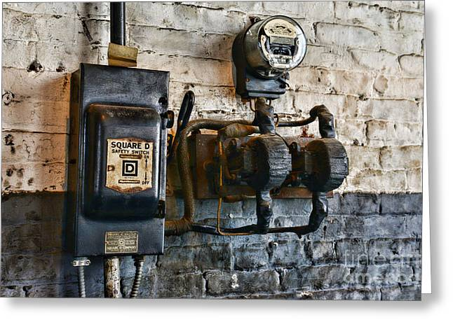 Electrical Energy Safety Switch Greeting Card by Paul Ward
