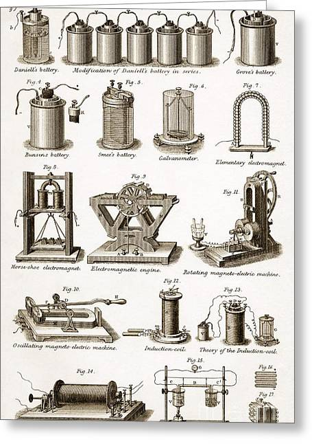 Ruhmkorff Coil Greeting Cards - Electrical Equipment, 19th Century Greeting Card by Sheila Terry
