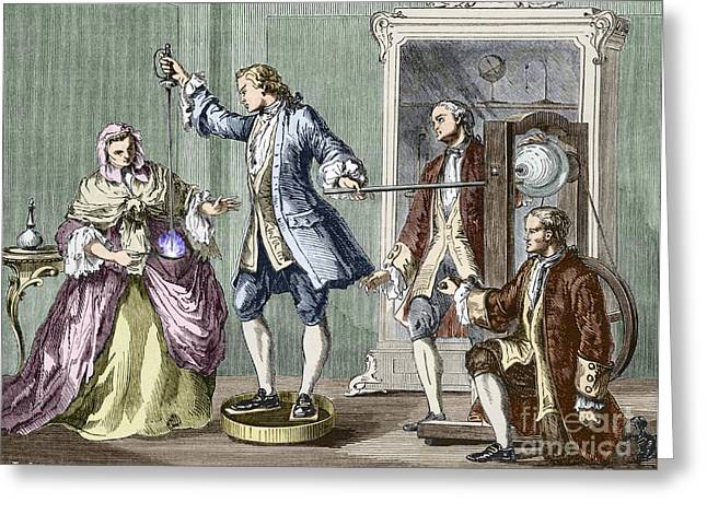 Human Spirit Greeting Cards - Electrical Experiment, 18th Century Greeting Card by Sheila Terry