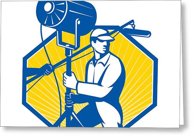 Electrical Lighting Technician Crew Spotlight Greeting Card by Aloysius Patrimonio