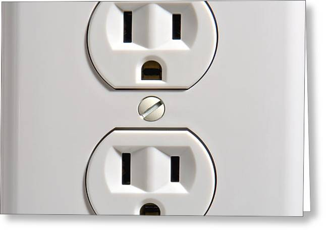 Electrical Outlet Greeting Card by Olivier Le Queinec