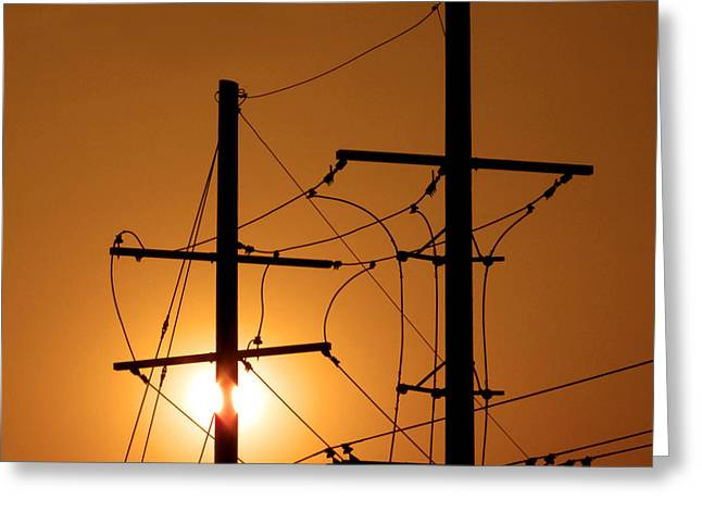 Energy Photographs Greeting Cards - Electrical Power Lines Greeting Card by Don Spenner