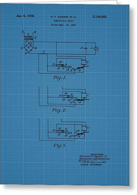 Electric Current Greeting Cards - Electrical Relay Blueprint Patent Greeting Card by Dan Sproul