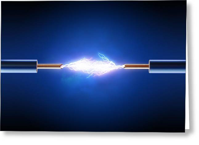 Flash Greeting Cards - Electrical spark between  two insulated copper wires Greeting Card by Johan Swanepoel