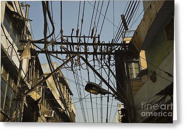 Electrical Wiring Greeting Cards - Electrical Wires In Old Delhi Greeting Card by John Shaw