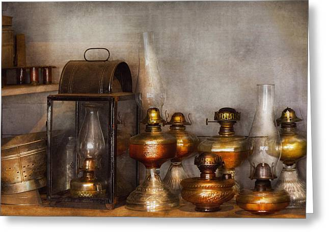 Hurricane Lamp Greeting Cards - Electrician - A collection of oil lanterns  Greeting Card by Mike Savad