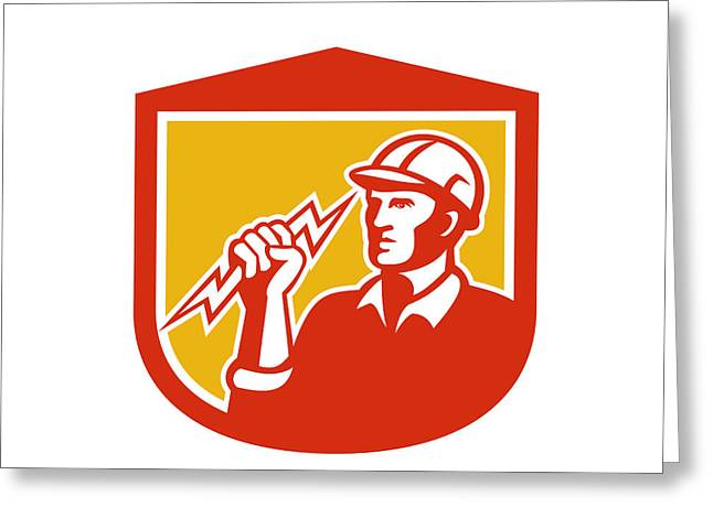 Electrician Greeting Cards - Electrician Clutching Lightning Bolt Shield Greeting Card by Aloysius Patrimonio