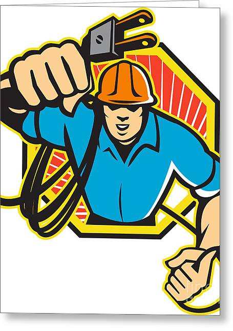 Electrician Greeting Cards - Electrician Construction Worker Retro Greeting Card by Aloysius Patrimonio