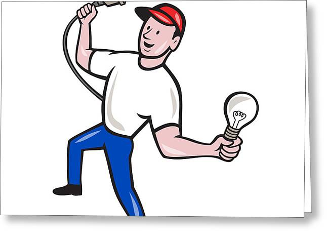 Electrician Greeting Cards - Electrician Hold Electric Plug and Bulb Cartoon Greeting Card by Aloysius Patrimonio