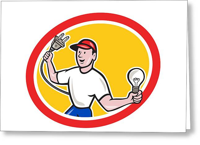 Electrician Greeting Cards - Electrician Holding Electric Plug and Bulb Cartoon Greeting Card by Aloysius Patrimonio