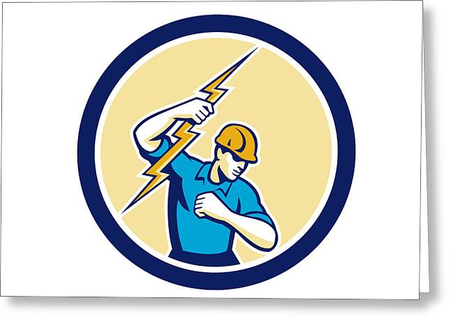 Electrician Greeting Cards - Electrician Holding Lightning Bolt Side Circle Greeting Card by Aloysius Patrimonio