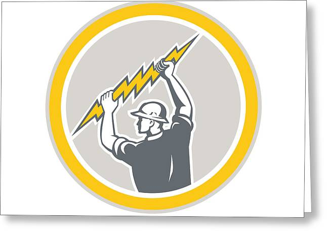 Electrician Greeting Cards - Electrician Holding Lightning Bolt Side Retro Greeting Card by Aloysius Patrimonio
