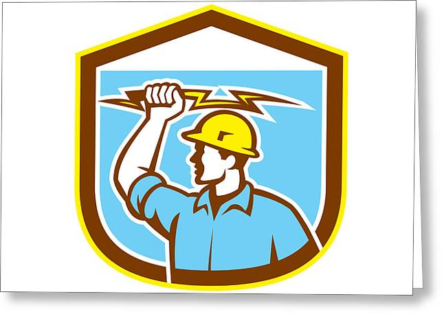 Electrician Greeting Cards - Electrician Holding Lightning Bolt Side Shield Greeting Card by Aloysius Patrimonio