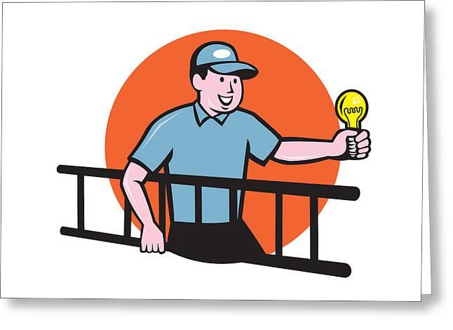 Electrician Greeting Cards - Electrician Ladder Light Bulb Circle Cartoon Greeting Card by Aloysius Patrimonio