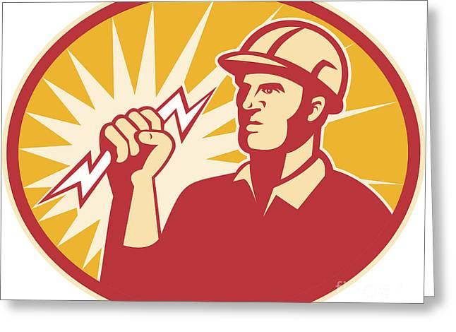 Electrician Greeting Cards - Electrician Power Line Worker Lightning Bolt Greeting Card by Aloysius Patrimonio