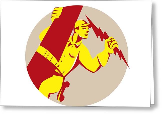 Electrician Greeting Cards - Electrician Power Lineman Telephone Repairman Retro Greeting Card by Aloysius Patrimonio