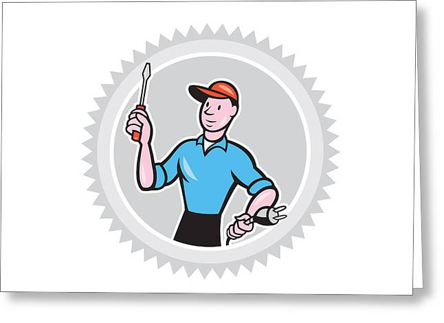 Electrician Screwdriver Plug Rosette Cartoon Greeting Card by Aloysius Patrimonio