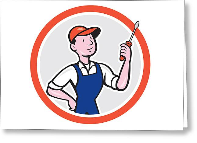 Electrician Greeting Cards - Electrician Standing Screwdriver Circle Cartoon Greeting Card by Aloysius Patrimonio