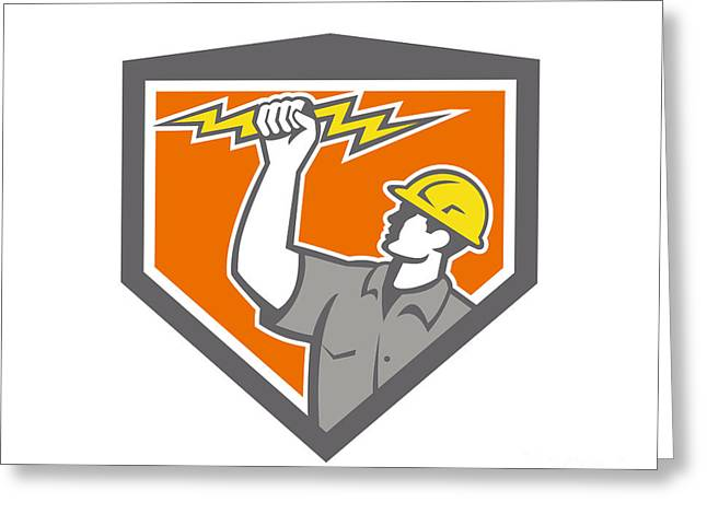Electrician Greeting Cards - Electrician Wield Lightning Bolt Side Crest Greeting Card by Aloysius Patrimonio