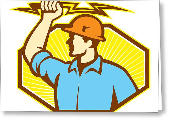 Electrician Greeting Cards - Electrician Wielding Lightning Bolt Greeting Card by Aloysius Patrimonio