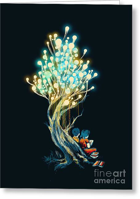 Light Greeting Cards - ElectriciTree Greeting Card by Budi Kwan