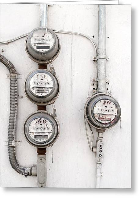 Electrical Meter Greeting Cards - Electricity meters Greeting Card by Science Photo Library