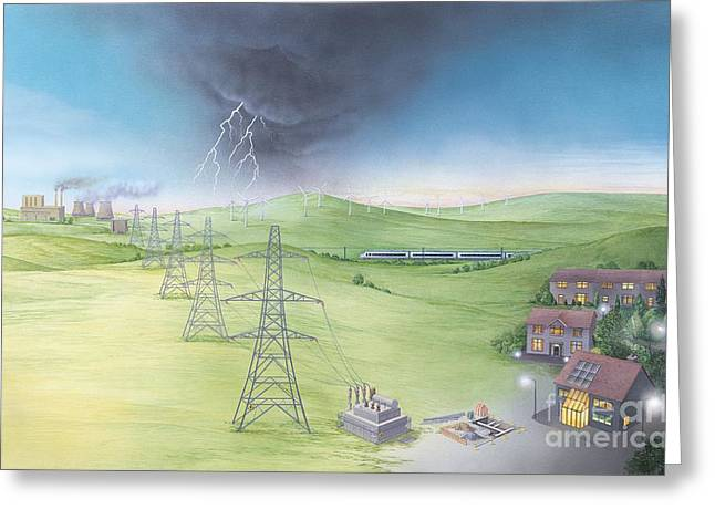 Generators Greeting Cards - Electricity Supply Chain, Artwork Greeting Card by Gary Hincks