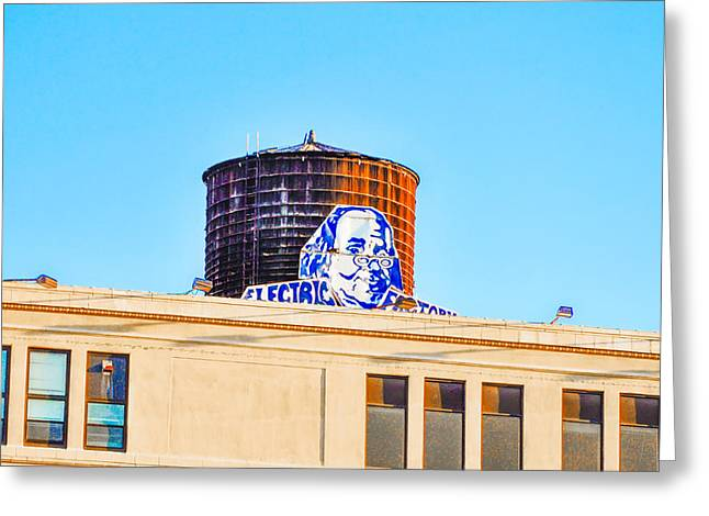 Watertower Greeting Cards - Electrick Factory Water Tower Greeting Card by Bill Cannon