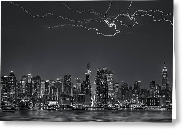 High Voltage Greeting Cards - Electrifying New York City BW Greeting Card by Susan Candelario
