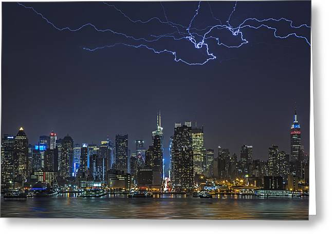 High Voltage Greeting Cards - Electrifying New York City Greeting Card by Susan Candelario