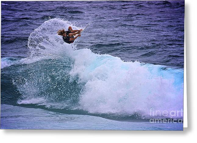 Electrifying Surfer Greeting Card by Heng Tan