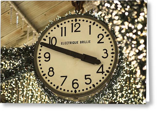Chelsea Photographs Greeting Cards - Electrique Brillie Clock in Chelsea Market Greeting Card by Rona Black