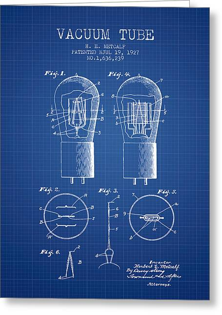 Thermionic Valve Greeting Cards - Electrode Vacuum Tube Patent From 1927 - Blueprint Greeting Card by Aged Pixel