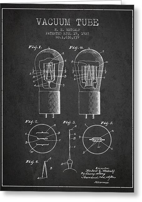 Thermionic Valve Greeting Cards - Electrode Vacuum Tube Patent From 1927 - Charcoal Greeting Card by Aged Pixel