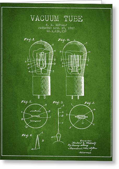 Thermionic Valve Greeting Cards - Electrode Vacuum Tube Patent From 1927 - Green Greeting Card by Aged Pixel