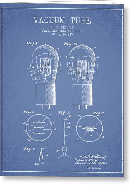Thermionic Valve Greeting Cards - Electrode Vacuum Tube Patent From 1927 - Light Blue Greeting Card by Aged Pixel