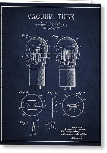 Thermionic Valve Greeting Cards - Electrode Vacuum Tube Patent From 1927 - Navy Blue Greeting Card by Aged Pixel