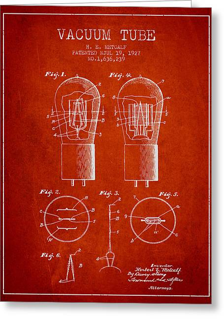 Thermionic Valve Greeting Cards - Electrode Vacuum Tube Patent From 1927 - Red Greeting Card by Aged Pixel