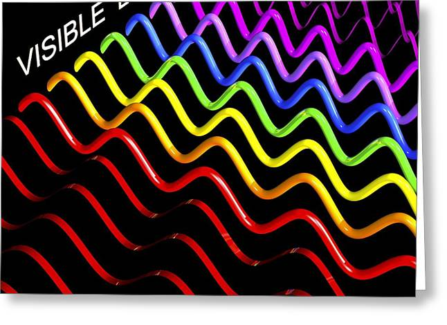 Blue Green Wave Greeting Cards - Electromagnetic Spectrum, Artwork Greeting Card by Russell Kightley