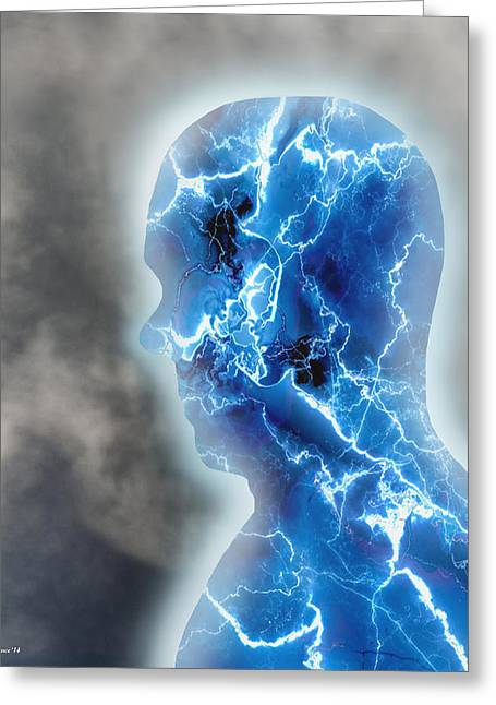 Enhanced Greeting Cards - Electroman Greeting Card by Brian Wallace