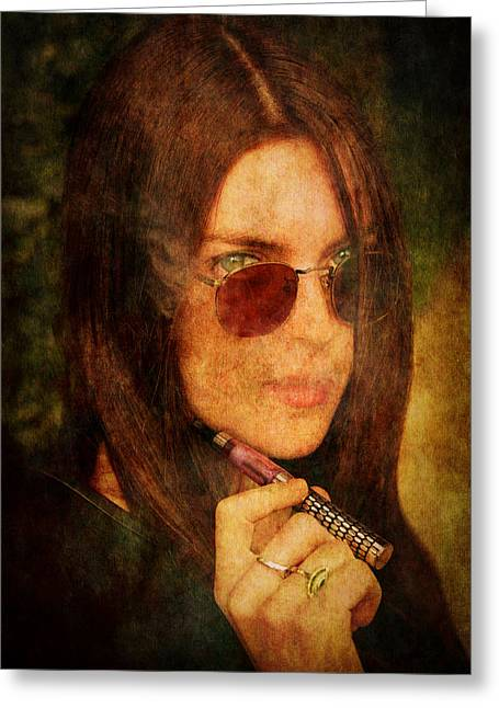 Fashion Model Photography Greeting Cards - Electronic Smoking Greeting Card by Loriental Photography